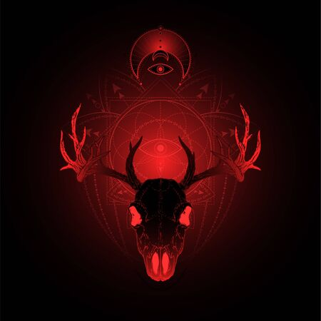 illustration with hand drawn deer skull and Sacred geometric symbol on black background. Abstract mystic sign. Red linear shape. For you design, tattoo or magic craft. Ilustrace