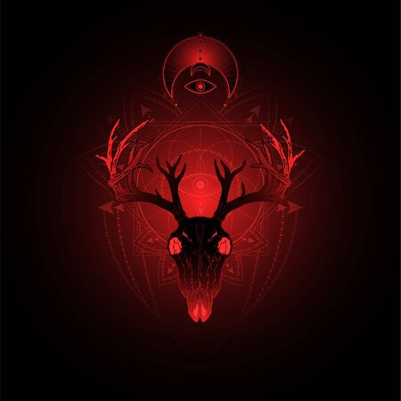 illustration with hand drawn deer skull and Sacred geometric symbol on black background. Abstract mystic sign. Red linear shape. For you design, tattoo or magic craft. Stock Illustratie