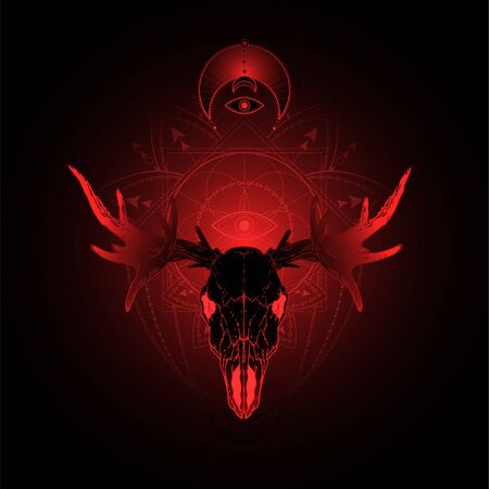illustration with hand drawn moose skull and Sacred geometric symbol on black background. Abstract mystic sign. Red linear shape. For you design, tattoo or magic craft.