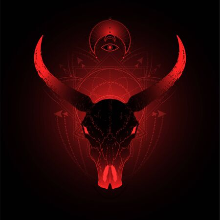 illustration with hand drawn buffalo skull and Sacred geometric symbol on black background. Abstract mystic sign. Red linear shape. For you design, tattoo or magic craft. Ilustrace