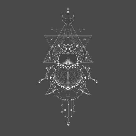 illustration with hand drawn scarab and Sacred geometric symbol on black vintage background. Abstract mystic sign. White linear shape. For you design: tattoo, print, posters, t-shirts, textiles and other.