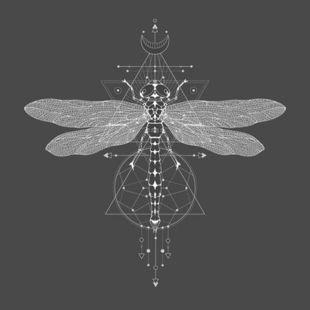Vector illustration with hand drawn dragonfly and Sacred geometric symbol on black vintage background. Abstract mystic sign. White linear shape. For you design: tattoo, print, posters, t-shirts, textiles and other. Ilustrace