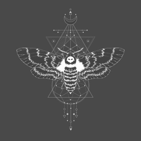 illustration with hand drawn dead head moth and Sacred geometric symbol on black vintage background. Abstract mystic sign. White linear shape. For you design: tattoo, print, posters, t-shirts, textiles and other. Ilustrace