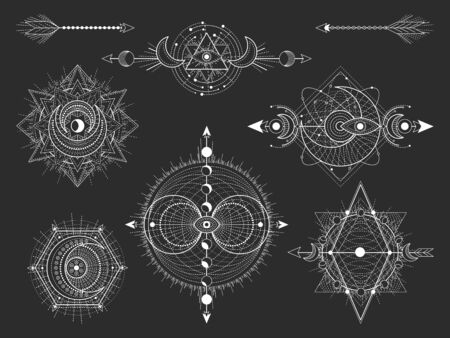 Ensemble vectoriel de symboles géométriques sacrés et de figures sur fond noir. Collection de signes mystiques abstraits. Formes linéaires blanches. Pour vous concevez : tatouage, affiches, t-shirts, textiles ou artisanat magique.