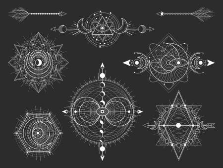 Wektor zestaw świętych symboli geometrycznych i figur na czarnym tle. Kolekcja streszczenie mistyczne znaki. Białe kształty liniowe. Dla Ciebie projektujesz: tatuaże, plakaty, koszulki, tekstylia lub magiczne rzemiosło.