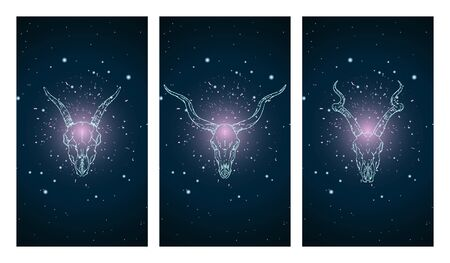 set of three illustrations with silhouettes skulls antelopes and goat on blue and pink starry sky background.  In blue color. For you design, print, tattoo or magic craft.