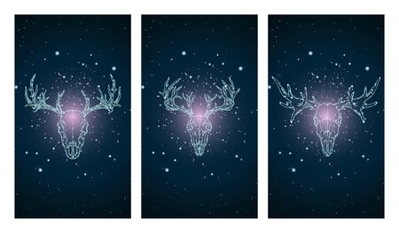 set of three illustrations with silhouettes skulls deer and moose on blue and pink starry sky background. In blue color. For you design, print, tattoo or magic craft. Illustration