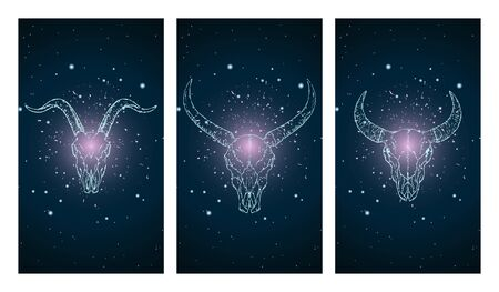 set of three illustrations with silhouettes skulls buffalo, bull and goat on blue and pink starry sky background. In blue color. For you design, print, tattoo or magic craft. Illustration