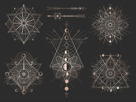 Vector set of Sacred geometric symbols and figures on black background. Abstract mystic signs collection. Gold linear shapes. For you design or magic craft.