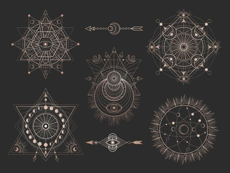 set of Sacred geometric symbols and figures on black background. Abstract mystic signs collection. Gold linear shapes. For you design or magic craft.