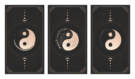 set of three yin yang signs on dark backgrounds with geometric shape, grunge textures and frames. Symbols with grunge elements. Illustration in black and gold colors. For you design and magic craft.