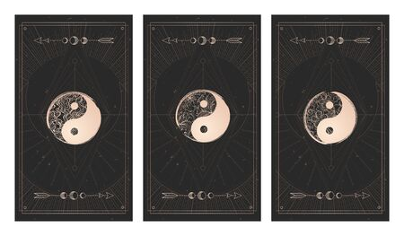 set of three yin yang signs on dark backgrounds with geometric shape, grunge textures and frames. Symbols with grunge and floral elements. Illustration in black and gold colors. For you design and magic craft.