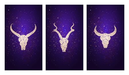set of three illustrations with silhouettes skulls antelope, buffalo and bull against the background of the starry sky. In purple color. For you design, print, tattoo or magic craft. Illustration