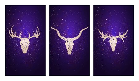 set of three illustrations with silhouettes skulls deer, antelope and moose against the background of the starry sky. In purple color. For you design, print, tattoo or magic craft.