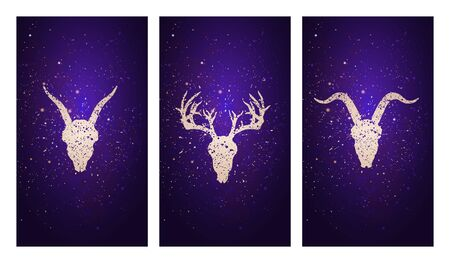 set of three illustrations with silhouettes skulls deer and goats against the background of the starry sky. In purple color. For you design, print, tattoo or magic craft.