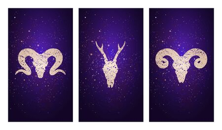 set of three illustrations with silhouettes skulls roe deer and rams against the background of the starry sky. In purple color. For you design, print, tattoo or magic craft. Illustration