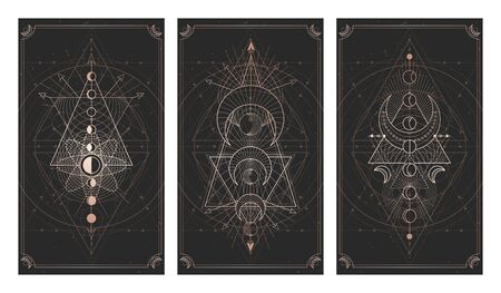 set of three dark background with sacred symbols, grunge textures and frames. Abstract mystic signs drawn in lines. Illustration in black and gold colors. For you design and magic craft.