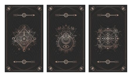 set of three dark backgrounds with sacred symbols, grunge textures and frames. Abstract mystic signs drawn in lines. Illustration in black and gold colors. For you design and magic craft. Ilustrace