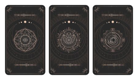 set of three dark backgrounds with sacred symbols, grunge textures and frames. Abstract mystic signs drawn in lines. Illustration in black and gold colors. For you design and magic craft. Vettoriali