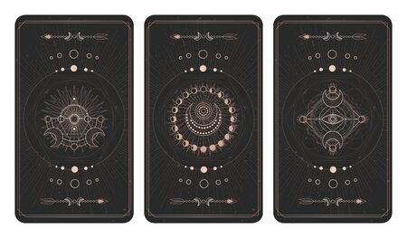 set of three dark backgrounds with sacred symbols, grunge textures and frames. Abstract mystic signs drawn in lines. Illustration in black and gold colors. For you design and magic craft. Ilustração