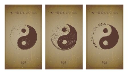 Vector set of three yin yang signs on vintage backgrounds with geometric shape and frames. Symbols with grunge elements. In sepia colors. For you design and magic craft. Ilustrace