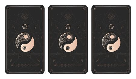 Vector set of three yin yang signs on dark backgrounds with geometric shape, grunge textures and frames. Symbols with grunge and floral elements. Illustration in black and gold colors. For you design and magic craft. Ilustrace