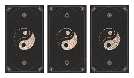 Vector set of three yin yang signs on dark backgrounds with geometric shape, grunge textures and frames. Symbols with floral elements. Illustration in black and gold colors. For you design and magic craft.