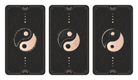 Vector set of three yin yang signs on dark backgrounds with geometric shape, grunge textures and frames. Symbols with grunge elements. Illustration in black and gold colors. For you design and magic craft.
