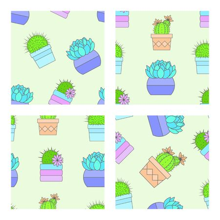 Vector set of four seamless patterns with cacti and succulents in flower pots. Flat style color collection. Stock Vector - 136786237