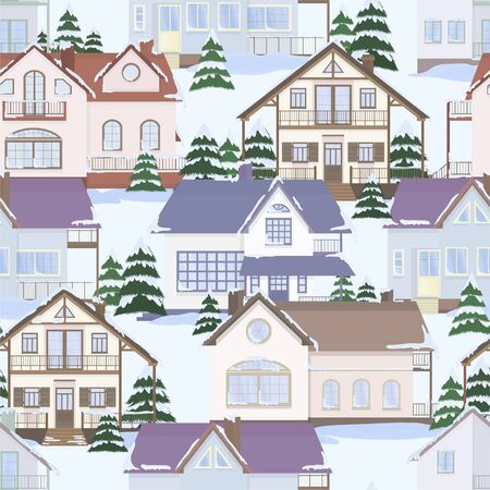Vector seamless pattern of suburban family houses and fir trees. Winter landscape. Flat style. Ilustrace