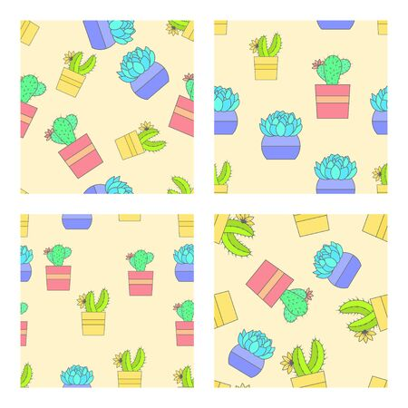 Vector set of four seamless patterns with cacti and succulents in flower pots. Flat style color collection.