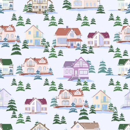 Vector seamless pattern of suburban family houses and fir trees. Winter landscape and snowfall. Flat style.