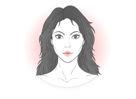 Vector portrait of a beautiful young woman with flowing hair on a white background. Ilustrace