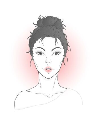 Vector portrait of young beautiful Asian woman with a high hairstyle on a white background.