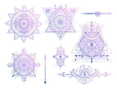 Vector set of Sacred geometry symbols with moon, sun, eye and arrows on white background. Abstract mystic signs collection. Colored linear shapes. For you design, tattoo or modern magic craft. Ilustrace