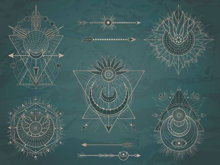 Vector set of Sacred symbols with moon, sun, arrows and geometric figures on dark vintage background. Abstract mystic signs collection drawn in lines. Image in green color.