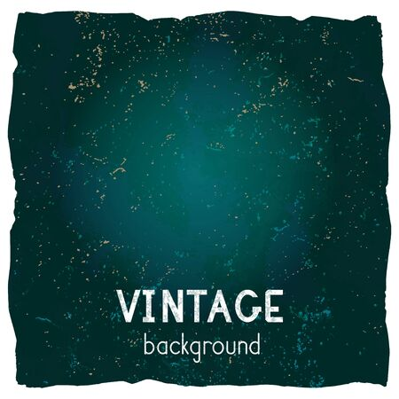Vector vintage background with torn edges. Grunge texture of old paper. Blue and green color. Illustration