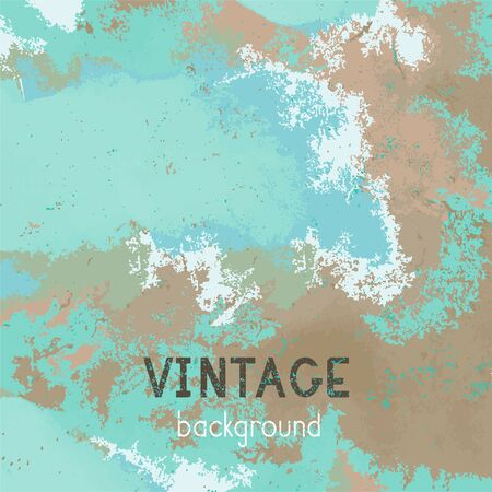 Vector vintage background. Grunge texture of old paper. Blue and green color.