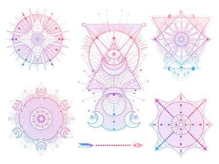 Ensemble vectoriel de symboles de la géométrie sacrée avec la lune, le soleil, les yeux et la flèche sur fond blanc. Collection de signes mystiques abstraits. Formes linéaires colorées. Pour votre conception, tatouage ou artisanat magique moderne.