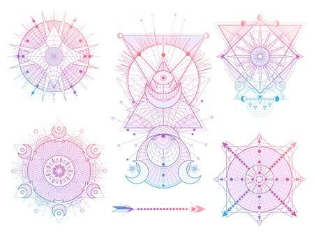 Vector set of Sacred geometry symbols with moon, sun, eye and arrow on white background. Abstract mystic signs collection. Colored linear shapes. For you design, tattoo or modern magic craft.