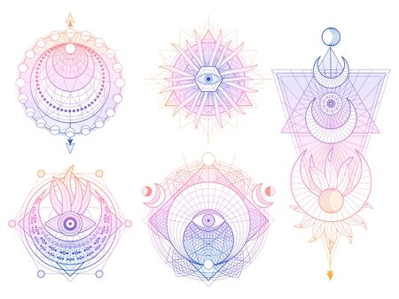 Vector set of Sacred geometry symbols with moon, sun, eye and arrows on white background. Abstract mystic signs collection. Colored linear shapes. For you design, tattoo or modern magic craft. Illustration
