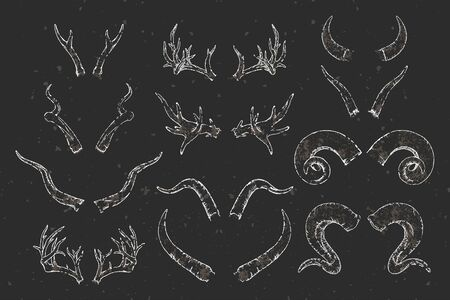 Vector set of hand drawn animals horns with grunge elements on dark background. Sketch illustration. Sepia color image. For you design, tattoo or modern magic craft.
