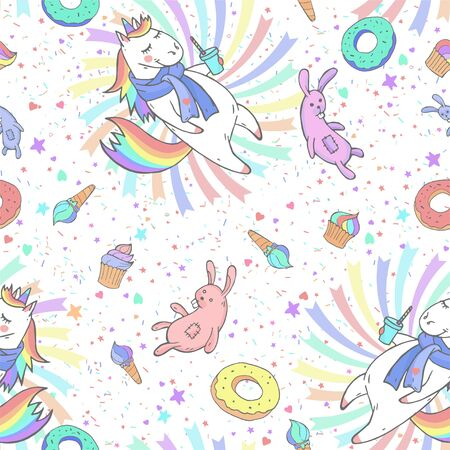 Vector seamless patterns with hand drawn cute unicorns, sweet, coffee and toy on white background. Cartoon style. Color image. For print, t-shirts, design, children room decoration and other. Banco de Imagens - 142134501
