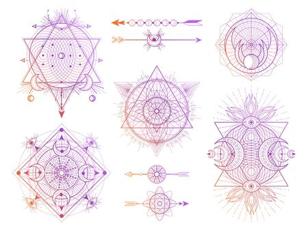 Vector set of Sacred geometry symbols with moon, eye and arrows on white background. Abstract mystic signs collection. Colored linear shapes. For you design, tattoo or modern magic craft.