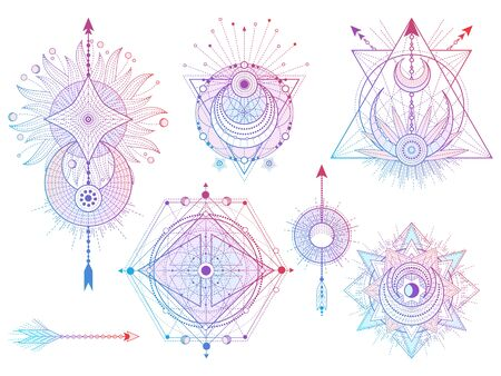 Vector set of Sacred geometry symbols with moon, sun, and arrows on white background. Abstract mystic signs collection. Colored linear shapes. For you design, tattoo or modern magic craft.