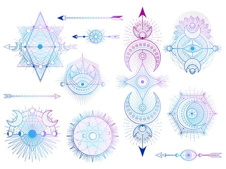 Vector set of Sacred geometry symbols with moon, sun, eye and arrows on white background. Abstract mystic signs collection. Colored linear shapes. For you design, tattoo or modern magic craft. 向量圖像
