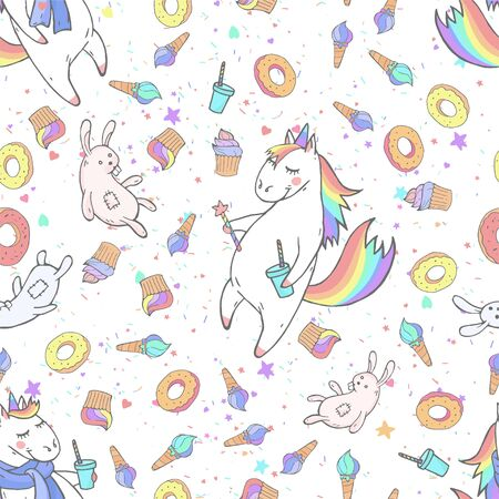 Vector seamless patterns with hand drawn cute unicorns, magic wand, sweets and toy on white background. Cartoon style. Color image. For print, t-shirts, design, children room decoration and other.