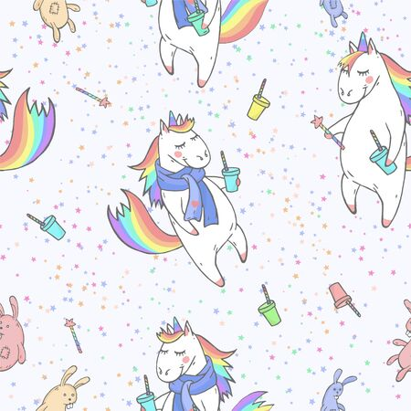 Vector seamless patterns with hand drawn cute unicorns, stars, coffee and magic wand on light blue background. Cartoon style. Color image. For print, t-shirts, design, children room decoration and other.