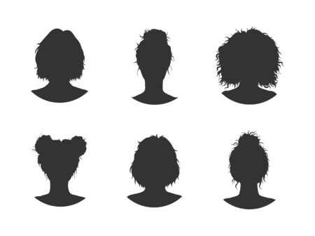 Vector set of six different women heads silhouettes with hairstyles. Hand drawn. Black images on white background.
