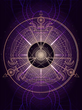 Vector illustration of Sacred geometry symbol on abstract background. Mystic sign drawn in lines. Image in purple color. For you design or magic craft.